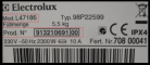 Electrodoméstico Electrolux (etiqueta modelo)